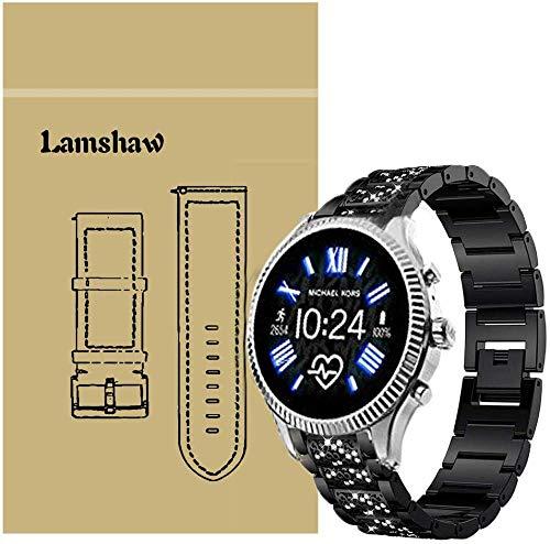 SkyBand Diamante de imitación Metalica Acero Moda Correas para Reloj Inteligente Michael Kors Access Lexington 2 (20mm, Negro)