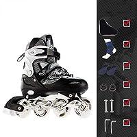 GUU 調整可能なインラインスケートアダルトプロフェッショナルインライン子供のスケートシングルフラッシュPVCシューズ子供のローラーシューズレッドブルーブラック、5色、サイズ:39 42、カラー:ホワイト (Color : Black and white, Size : 35 38)
