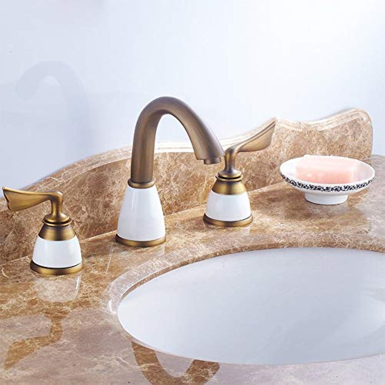 SCJS Wasserhahn Doppelgriff setzen DREI Lcher Antik Gold Keramik Wasserhahn Arbeitsplatte Wasserhahn heien und kalten Kupfer (Farbe    1)