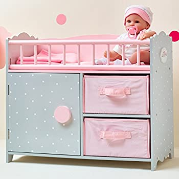 Olivia s Little World - Polka Dots Princess 16-18 inch Baby Doll Wooden Crib Bed with Storage Bin - Gift Toys for Girls - Pink & Gray Polka Dots