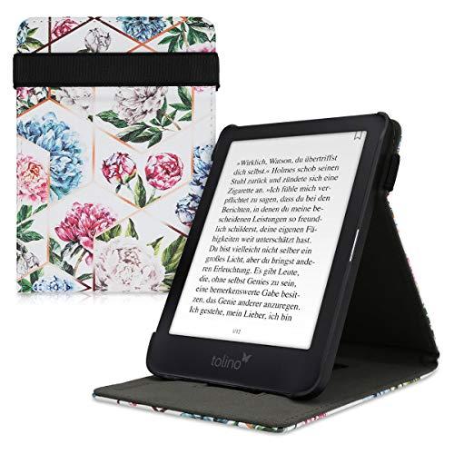 kwmobile Schutzhülle kompatibel mit Tolino Shine 3 - Hülle e-Reader mit Schlaufe Ständer - - Glory Mix Pfingstrosen Rosegold Rosa Hellblau