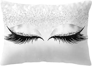 JAGETRADE Funda de Almohada de 30x50 cm Brillo Maquillaje Sombra de Ojos Pestañas largas Impresión Funda de cojín Decorativa Melocotón Rectángulo Cama de Terciopelo Sala de Estar