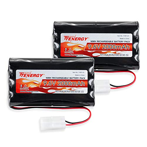 Tenergy 2Pack 9.6VFlat NiMH Battery Packsfor RC Car, High Capacity 8-Cell2000mAh Rechargeable Battery Pack,ReplacementHobby Battery Packwith Standard Tamiya Connectors