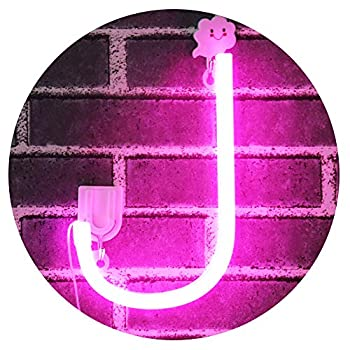 Light Up Letters Neon Signs Pink Marquee Letter Lights Wall Decor for Christmas Birthday Party Bar Valentine's Day Words-Pink Letter J