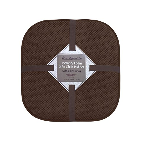Bounce Comfort Bon Appetite Memory Foam 17 x 16 in. Cushioned Chair Pad, Set of 2 Espresso