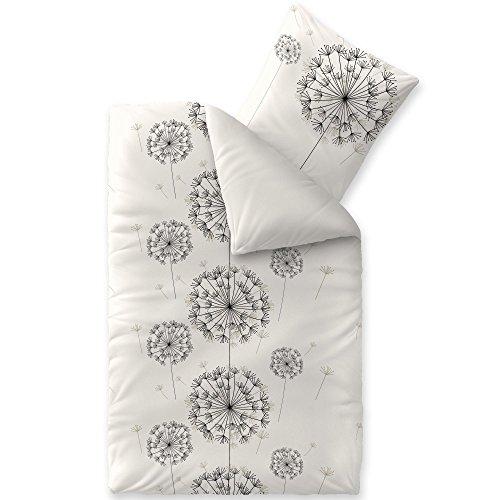 CelinaTex Fashion Bettwäsche 135x200 cm 2teilig Baumwolle Fancy Blumen Weiß Schwarz Grau