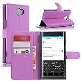 BlackBerry Priv Hülle, HualuBro [Standfunktion] [All Aro& Schutz] Premium PU Leder Leather Wallet Handy Tasche Schutzhülle Hülle Flip Cover mit Karten Slot für BlackBerry Priv Smartphone (Violett)