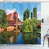 ABAKUHAUS Landschaft Duschvorhang, Summer View deutsche Stadt, Set inkl.12 Haken aus Stoff Wasserdicht Bakterie & Schimmel Abweichent, 175 x 200 cm, Orange Blau grün
