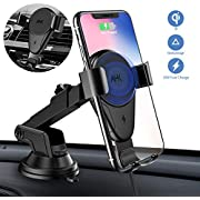 AHK Wireless Charger Car Mount,Gravity Windshield Dashboard Air Vent Phone Holder for iPhone Xs Max/XS/XR/X/8Plus/8 and for Samsung S9/S9+/S8/S8+/Note9/Note8 &Other Qi Enabled Phones, Black