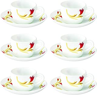 Larah by Borosil Red Lily (LH) Cup and Saucer Set, 140ml, 12-Pieces, White and Red Lilly