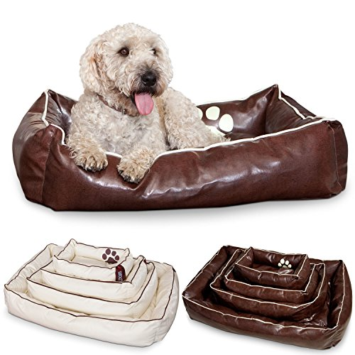 Hundebett aus Leder Hundekorb von DogSmoothy - Gr. M