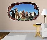 3D Wandtattoo Hunde Hunderassen Welpe Hund Bild Foto Wandbild Wandsticker Wandmotiv Wohnzimmer Wand Aufkleber 11F270, Wandbild Größe F:ca. 97cmx57cm