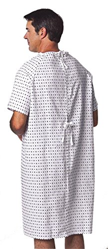 Medline MDTPG3RSBDEMZ Traditional Patient Gown, Universal, Demure Print (Pack of 12)