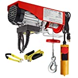 Partsam 220 lbs Lift Electric Hoist Crane Remote Control Power System, Zinc-Plated Steel Wire Overhead Crane Garage Ceiling Pulley Winch w/Premium Straps (w/Emergency Stop Switch)