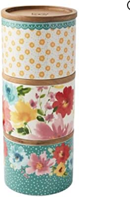 Pioneer Woman Stacking 3-Piece Stoneware Canister Set