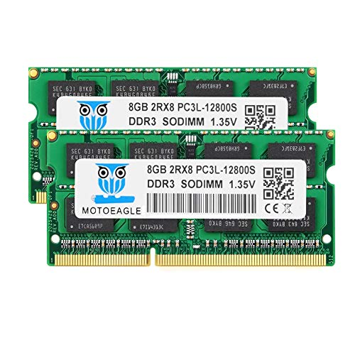 Motoeagle 16GB Kit (2x8GB) DDR3L 1600 MHz SODIMM PC3 PC3L 12800S 8GB 204-Pin Unbuffered Non-ECC 1.35V CL11 2Rx8 Dual Rank Notizbuch Arbeitsspeicher