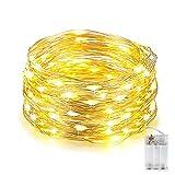 Catene Luminose, 10M 100 LED Stringa Luci Led Batteria, Impermeabile Filo Luminoso, Portatile Luci Stringa per Camere da Letto Giardino Casa Feste Matrimonio (Bianco Caldo)