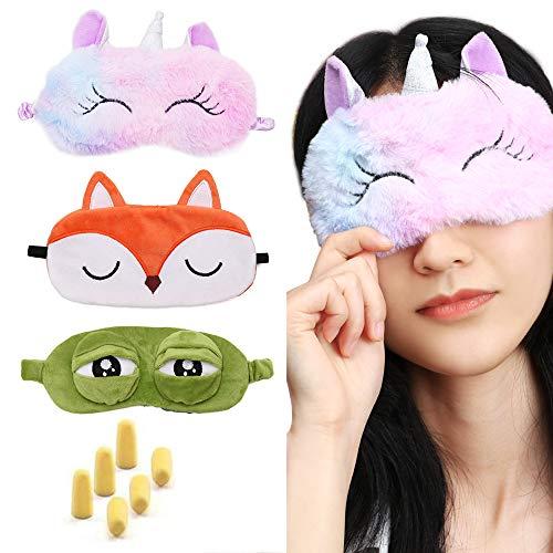 3 PIEZAS Mascarilla para dormir Máscara de ojos de viaje Lindas fundas de máscara de ojos de animales esponjosos con tapón de oreja gratuito para hombres y mujeres (rana, zorro y unicornio)