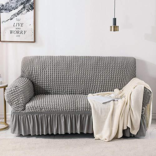 B/H Tejido elástica Cubiertas de sofá,Funda de sofá elástica Todo Incluido, Funda de sofá de Tela-Gris_90-140cm,Cubre Sofa Universal Tejido de Poliéster