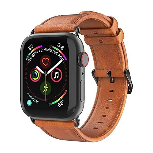 O RLY Clásico Correa de Piel Compatible con Apple Watch Band 44mm 42mm para Series 4 3 2 1 Genuine Piel de Becerro Suave y Blando
