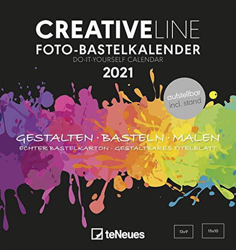 Foto-Bastelkalender schwarz 2021 - Kreativ-Kalender - DIY-Kalender - Kalender-zum-basteln -  16x17 - datiert - aufstellbar