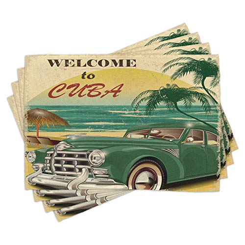 Ambesonne Retro Place Mats Set of 4, Nostalgic Welcome to Cuba Print with Classic Car Beach Ocean Palm Trees, Washable Fabric Placemats for Dining Room Kitchen Table Decor, Green Cream