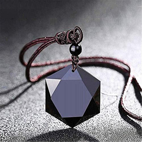 GPYONCT Amuleto de hexagrama Sagrado - Obsidiana Negra tibetana, Colgante de Piedra con Encanto de obsidiana Negra Natural Collares de la Suerte para Hombres, Mujeres, Amantes, talismán, joyería