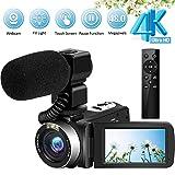 Videocamere 4K Ultra HD 48MP Vlogging con microfono 2.4G Telecomando senza fili Videocamera...