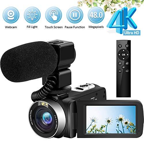 Videocamere 4K Ultra HD 48MP Vlogging con microfono 2.4G Telecomando senza fili Videocamera Touchscreen ruotabile e funzione webcam