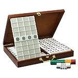 Dpliu Mah Jongg Set 146 Azulejos Acrílico Mahjong con Casos de Madera Viajes Familia Tiempo de Ocio Tradicional Versión China Juego (Color : Silver,...
