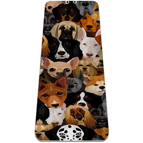 Divertido patrón de cara de perro extra grueso, respetuoso con el medio ambiente, antideslizante para ejercicios y fitness Mat para todo tipo de yoga, pilates y ejercicios de piso 72 x 24 pulgadas