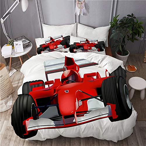 LISNIANY Duvet Cover,Formel Rennwagen mit dem Driver Automobile Motorized Sports Theme Strong Engine,Mikrofaser Bettbezug 200 * 200cm 2 Kissenbezug 50 * 80cm