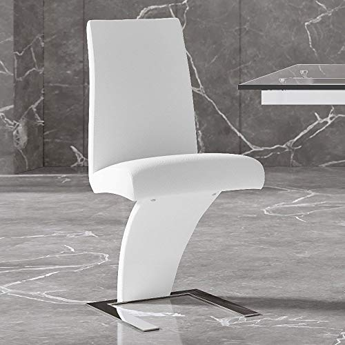 Zuri Furniture Modern Mesa Dining Chair in White Leatherette and Stainless Steel