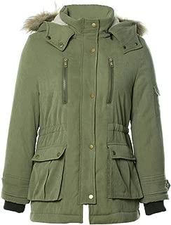 Women Coats E-Scenery Long Sleeve Hooded Parkas Faux Fur Collar Lambskin Jacket Outerwear
