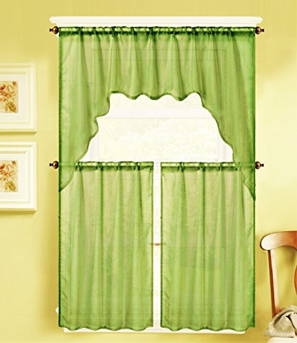 GorgeousHomeLinen (K66) 3 Piece Voile Rod Pocket Window Kitchen Sheer Curtain Set 2 Tier Panels & 1 Swag Valance, Various Solid Colors (Lime Green)