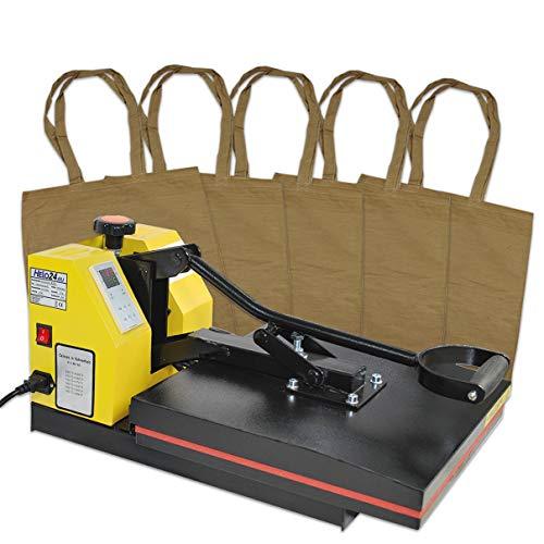 Helo Transferpresse Textilpresse mit 38x38 cm teflonbeschichteter Heiz-Druckplatte, 20 kg Druck durch verbesserter Hebeltechnik und Silikonmatte zur Druckverteilung, inkl. 5 x Taschen Creme-gelblich