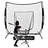 Hit Run Steal Practice Baseball and Softball Heavy Duty Large Hitting Net and Carrying Bag (Black Hitting Net & Tee)