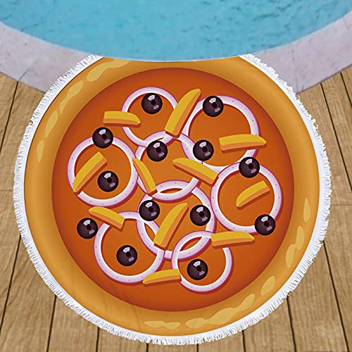Toalla De Playa Redonda, Patrón De Impresión Digital 3D De Pizza De Galletas, Alfombra De Playa De Microfibra, Manta De Playa A Prueba De Arena De Secado Rápido 150 * 150cm