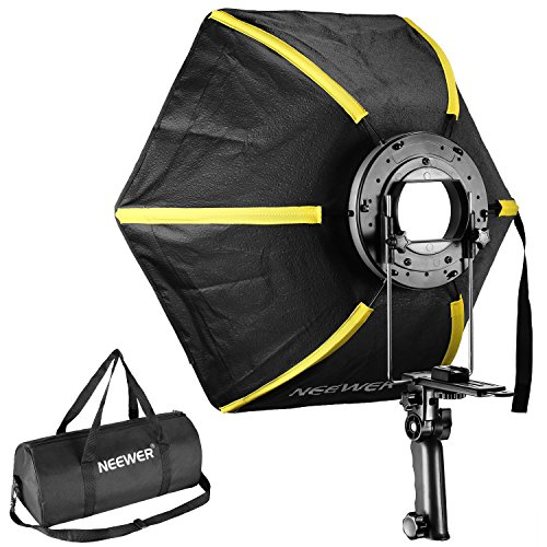 "Neewer 24""/ 60 cm Profesional Softbox difusor plegable Hexagonal con mango para flash Speedlight (negro/amarillo)"