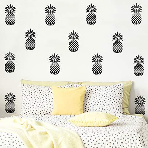Set Of 20 Vinyl Wall Art Decal - Pineapples - 7' x 4' Each - Trendy Modern Summer Theme Home Bedroom Living Room Dorm Room Apartment Office Workplace Playroom Nursery Decor (7' x 4' each, Black)