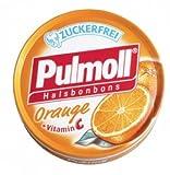 Pulmoll throat lozenges orange are sugar-free, sweetened with stevia 50g. 1Box