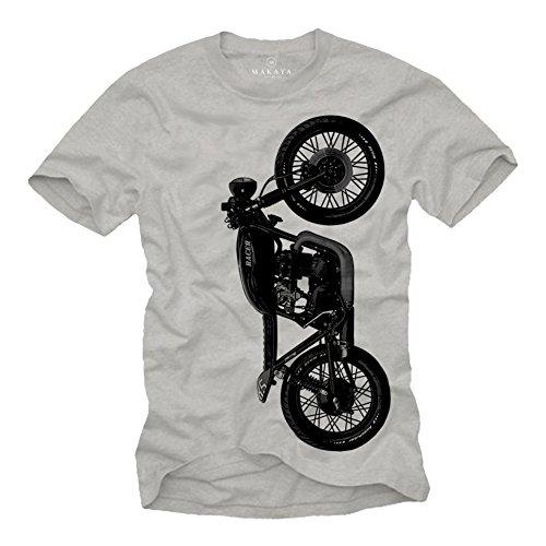 Camiseta Moto Honda CB 500 - Cafe Racer T-Shirt Manga Corta Hombre - Regalos Originales Gris M