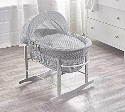 Grey Dimple Grey Wicker Moses Basket & Deluxe Grey Rocking Stand