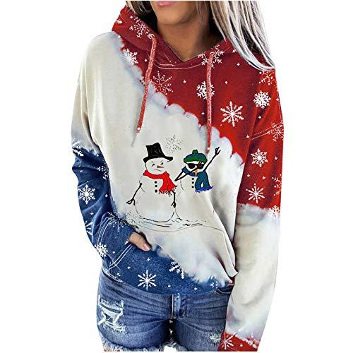 Oasics Weihnachtsdamenpullover, Sweatshirts, Pullover, LangäRmelige Hoodies, Tops.Wein3.M