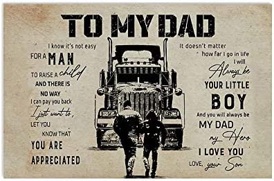 trucker love truck Best Gifts Ever,decor Unframe Paper Poster father and son To My Dad trucker Poster trucker Poster