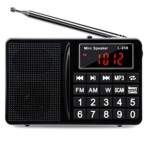 FM AM SW Portable Radio,Shortwave Radio with The Best Receiving Effect,Headset Output/AUX Input/MP3/External Speaker/TF Card,Stores Stations Automatically and Powered by Lithium Battery