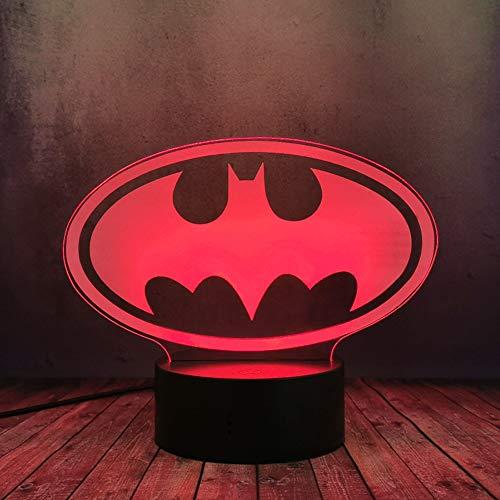 Batman Nachtlicht für Jungenzimmer DC-Serie Filmlegende Justice League Logo 3D Optische Täuschung Lampe Joker LED Nachtlicht Touch USB-Kabel Wechsel Tischlampe Junge Geschenk Kind Kinderspielzeug