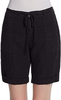 Joie Indica Linen Cuffed Bermuda Shorts, Caviar Black (Size 2)