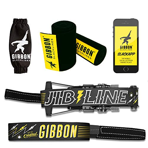 Gibbon Slacklines Jibline mit Treewear, Schwarz, 15 Meter (12,5m Band + 2,5m Ratschenband), inklusive Ratschenschutz und -rücksicherung, Breite 2