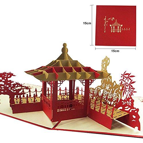 Chinesischer Pavillon und Drache 3D Gruß Geschenkkarte Handgeschöpftes Papier Karte Geburtstag Hochzeitstag Freundschaft Danke besten Wunsch viel Glück Postkarte von Shiningup
